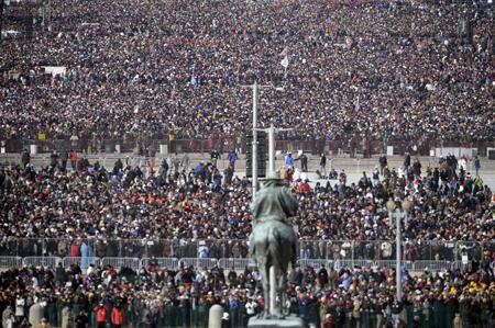 Biển người chen chân tại Quảng trường Quốc gia ở Washington D.C trước giờ phút ông Obama nhậm chức